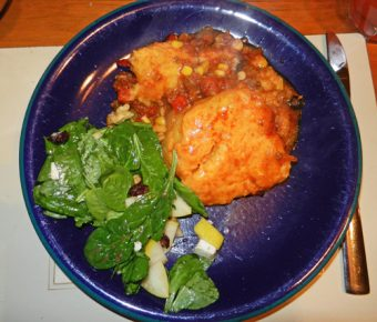 tamale pie with salad