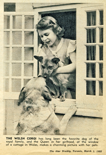 Princess Elizabeth with dogs Star Weekly March 1 1952