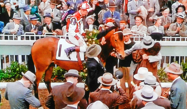 Sea Sovereign as Seabiscuit in winner's circle Santa Anita 1940