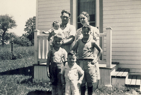 Emily and Burnice McAllister family 1945