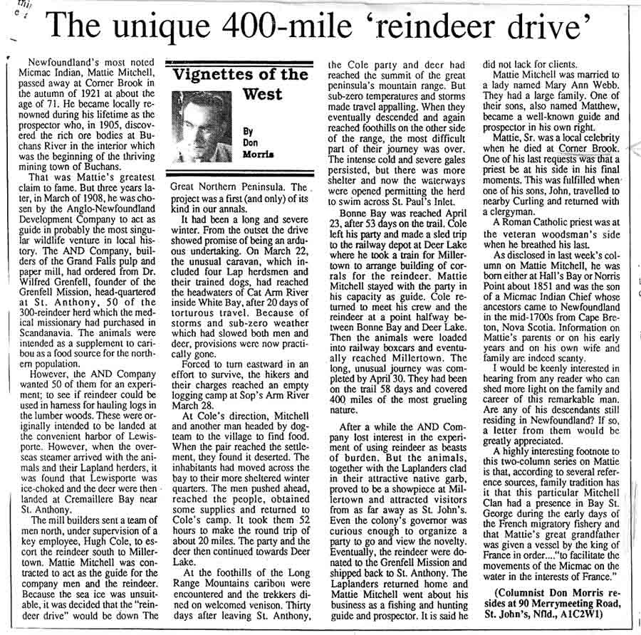 Don Morris column Reindeer Drive Mar. 14 1992