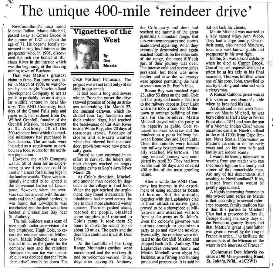 Don Morris column Reindeer Drive Mar. 14 1992