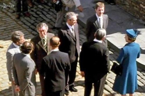 Tony Warren with Queen Elizabeth II Coronation Street set 1982 corriepedia