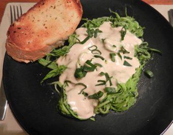 thin zucchini noodles alfredo with garlic bread