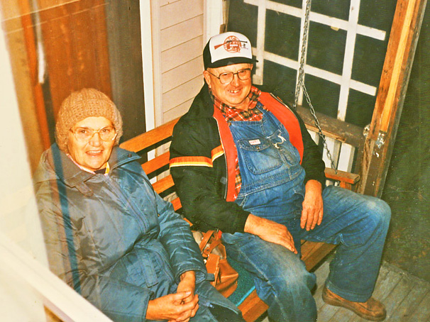 verna (anger) and colin laur 1984 sitting on porch swing