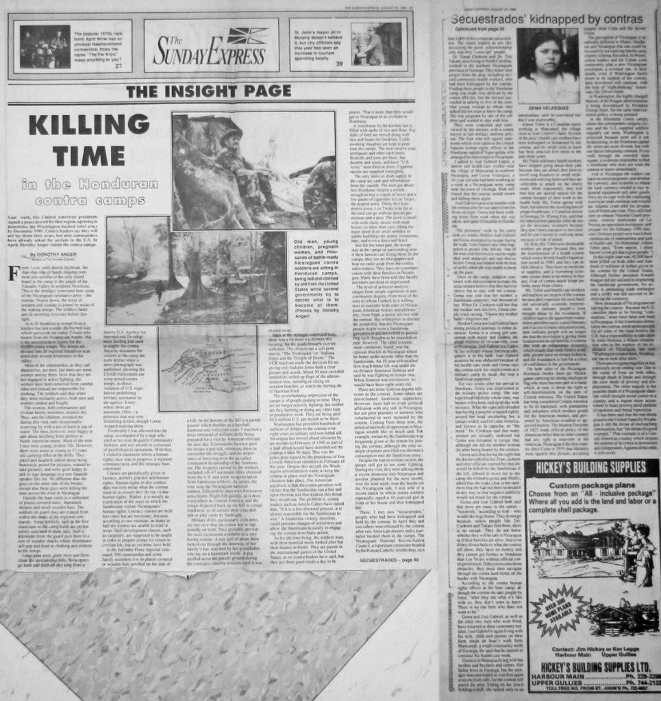 Sunday Express 20 Aug 1989 Killing Time article