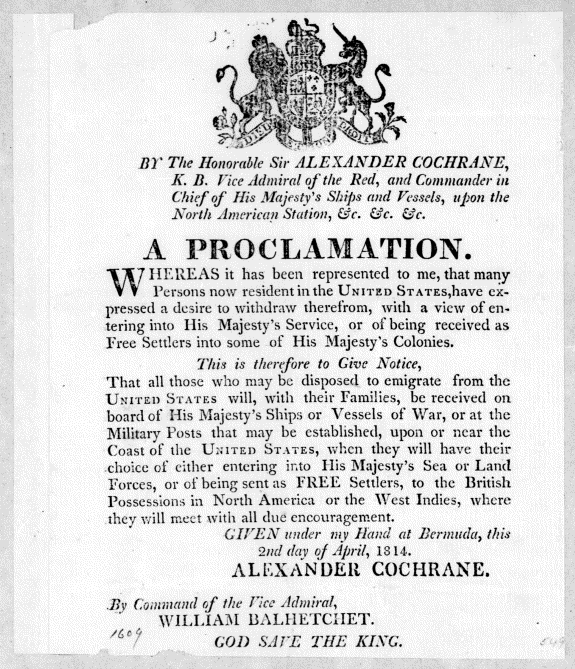 cochrane-proclamation-2-apr-1814-loc.gov