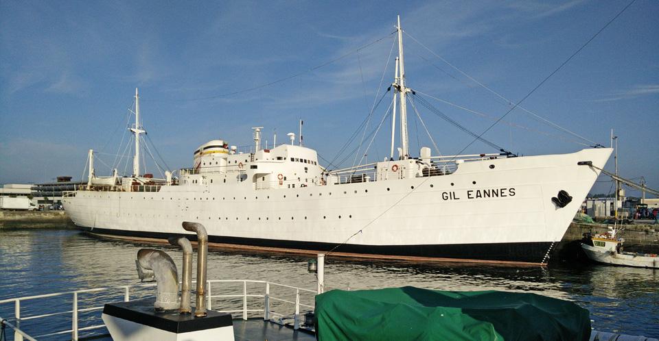 white fleet hospital ship Gil Eannes in Portugal wikicommons