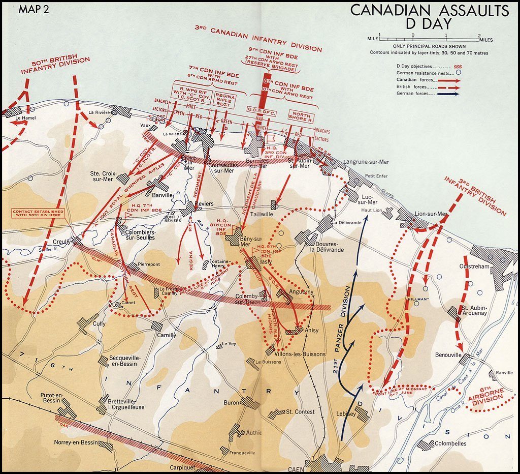 Canadian Assaults D Day map junobeach.org