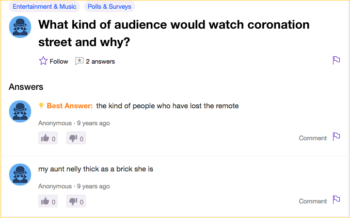 yahoo answer what kind of audience and why watch