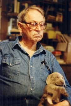 Bill Stewart with pup 1988 photo M Stewart