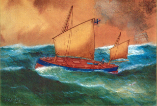 1890 painting, G. F. Gregory, Storm King at sea