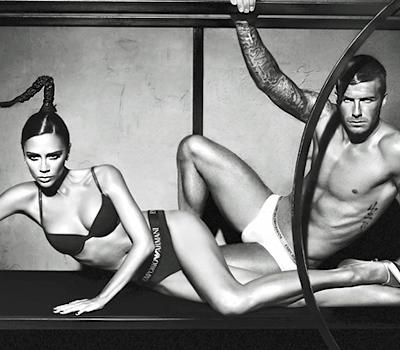 Beckhams in armani underwear ad