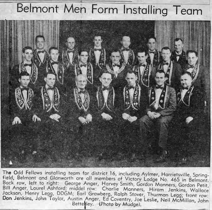 newspaper clippings belmont oddfellows